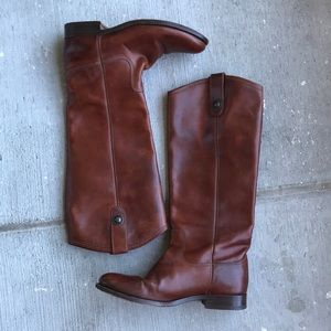 Frye Melissa Button Tall Leather Riding Boots